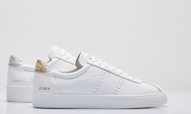 Superga 2843 Club S Comflea - White/Gold Glitter