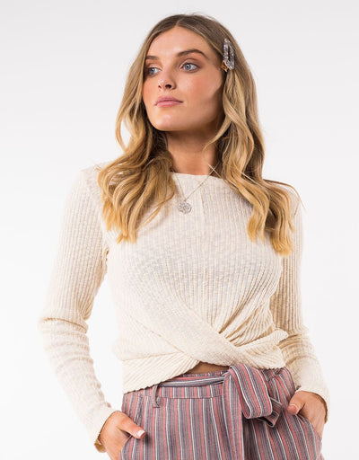 Twist Textured Long Sleeve Top - Beige