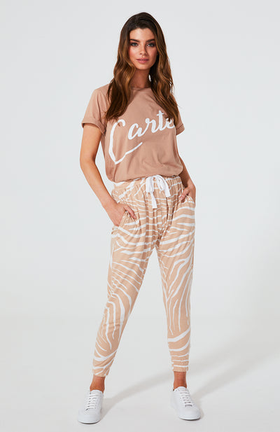 Kenji Comeback Pants - Blush Zebra | Shop Cartel & Willow at IKON in Arrowtown, NZ