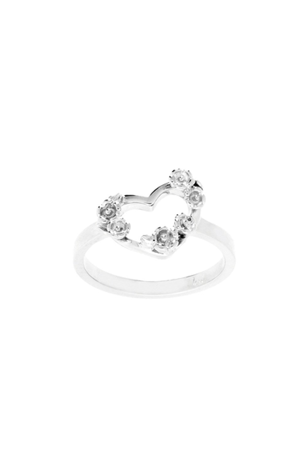 Botanical Heart Ring Silver