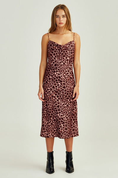 Leopard Dress - Peach Leopard