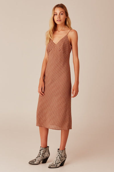 Longitude Check Dress - Toffee/Cream