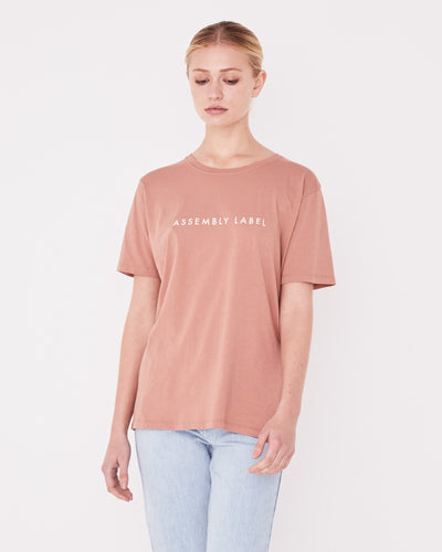 Logo Cotton Crew Tee Cameo Pink | Shop Assembly Label at IKON