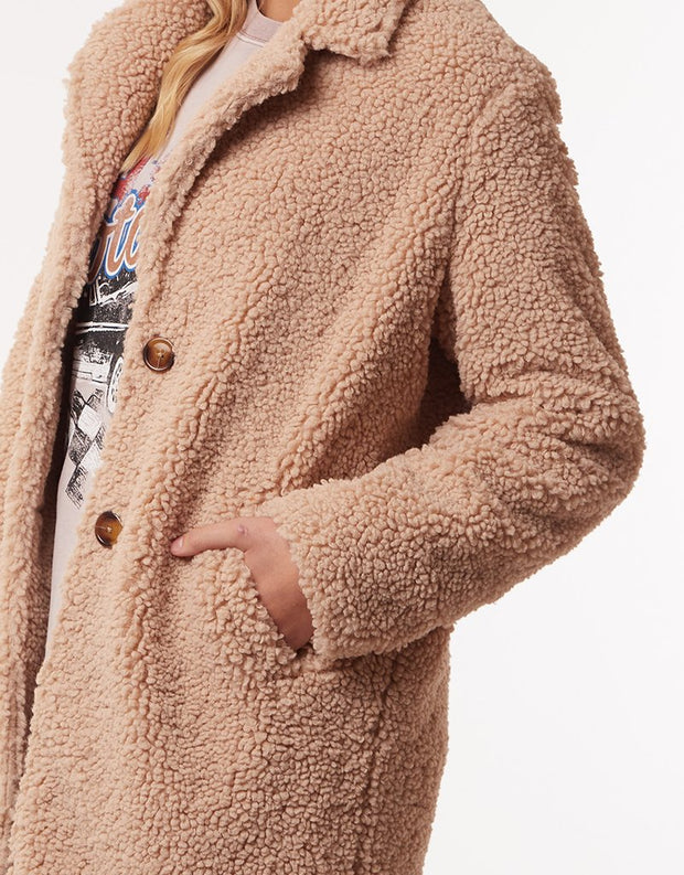Maxie Teddy Coat - Tan