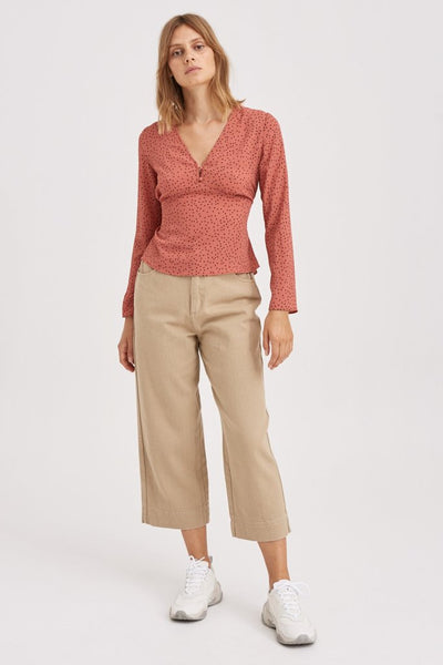 Montana Long Sleeve Top - Spice with Mocha