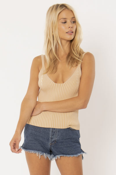 Marlowe Ribbed Sweater Tank - Sahara Sand | Amuse Society at IKON NZ