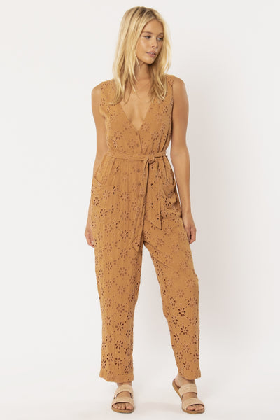 Maya Woven Jumsuit - Mocha | Amuse Society at IKON NZ