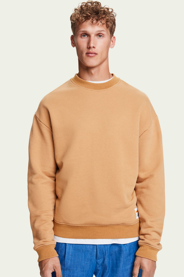 Mens Boxy Fit Sweatshirt - Camel | Shop Scotch and Soda at IKON