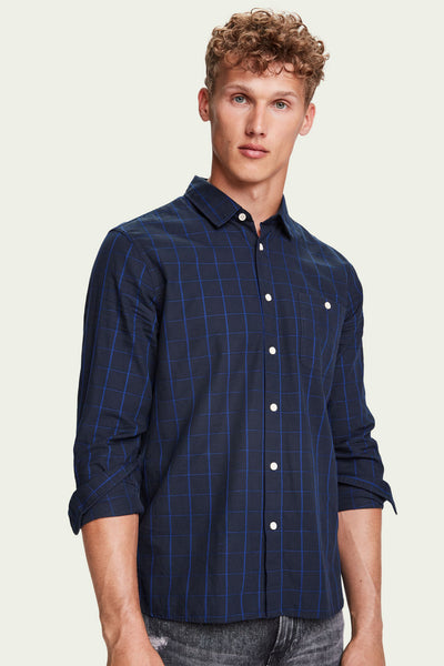 Mens Oxford Long Sleeve Shirt - Navy | Shop Scotch and Soda at IKON