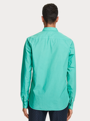 Mens Cotton Shirt - Garment Dyed - Emerald
