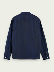 Mens Oxford Long Sleeve Shirt - Navy Print