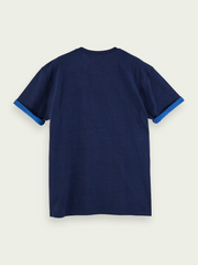 Mens Short Sleeve Layer-Look T-Shirt - Navy