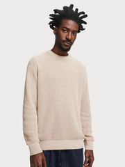 Mens Recycled Sweater Ecru Melange | Shop Scotch and Soda at IKON