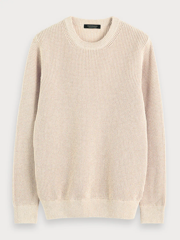 Mens Recycled Sweater - Ecru Melange
