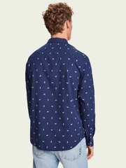 Mens Embroidered Chic Pocket Shirt - Blue