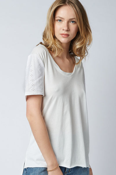 Nova Loose Tee - Broderie White | Shop Dricoper at IKON NZ