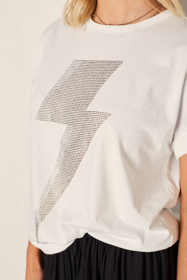 The Relaxed Tee - White with Bolt
