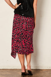 The Giraffe Wrap Skirt -  Hot Pink Print