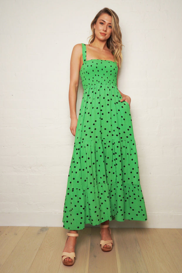 The Shirred Maxi Dress - Green | Shop The Others at IKON NZ