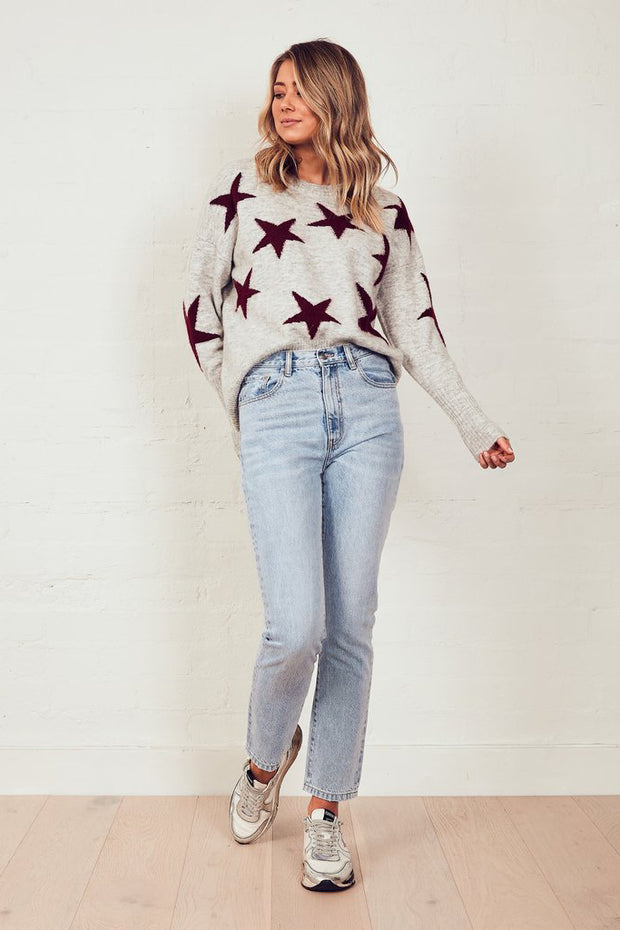 The Stars Knit Jumper - Grey Marle/Merlot | Shop The Others at IKON NZ