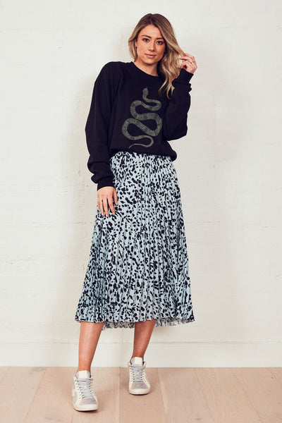 The Sunray Skirt - Dusty Blue Animal | Shop The Others at IKON NZ