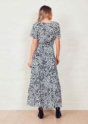 The Panel Detail Dress - Dusty Blue Animal