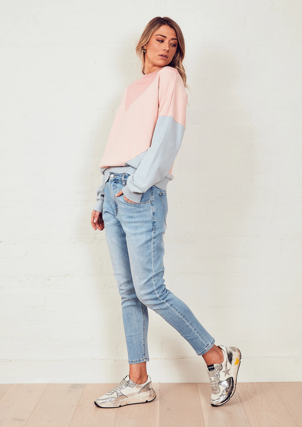 The Panelled Sweat - Dark Pink/Pink/Dirty Blue