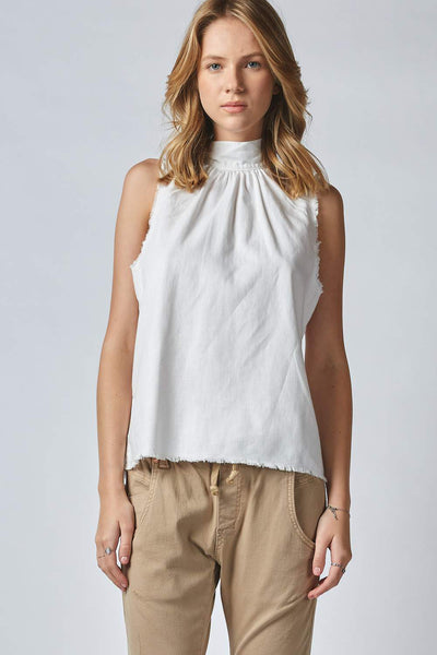 Oliana Tie Neck Tank - White | Shop Dricoper at IKON NZ