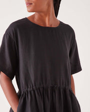 Womens Olivia Linen Dress - Black