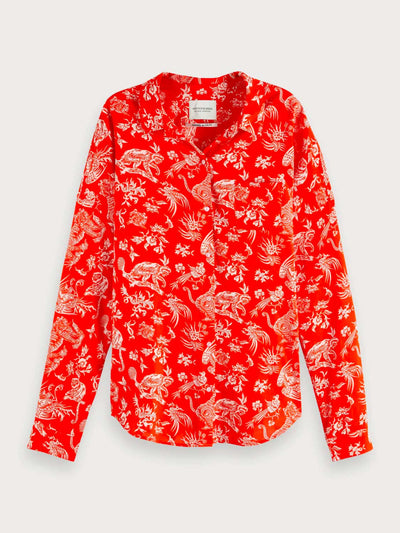 Womens Oversized Printed Shirt - Red