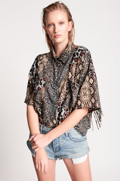 Punk Python Fringed Savanna Shirt | Shop OneTeaspoon at IKON NZ