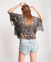 Punk Python Fringed Savanna Shirt - Animal Print