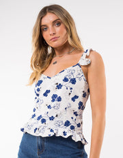 Riviera Ruffle Top - White