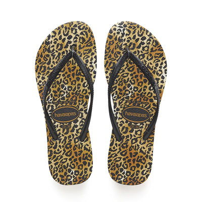 Slim Animals (Leopard) - Black/Gold | Shop Havaianas at Ikon Arrowtown
