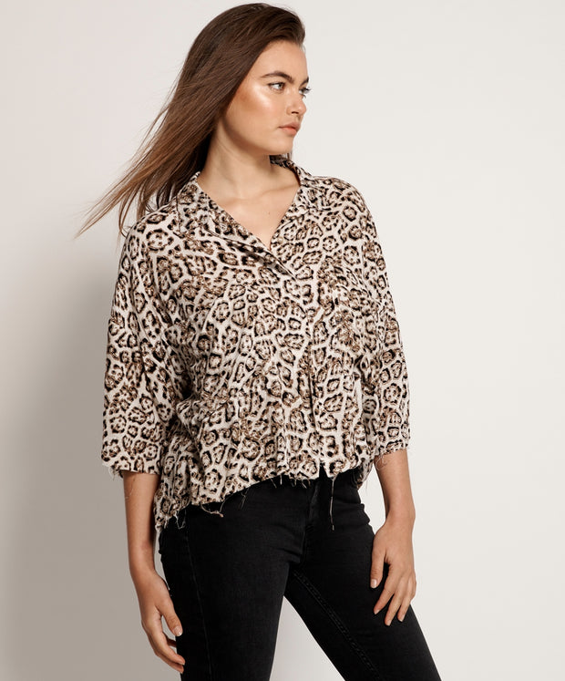 Montego Bay Shirt Stone Leopard | Shop OneTeaspoon at IKON NZ