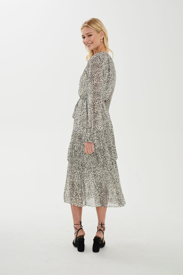 Serena Pleated Midi Dress - White Abstract Dot