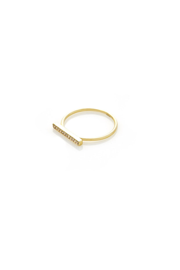 Bar Ring - White Topaz/Gold | Shop Silk and Steel Jewellery at IKON