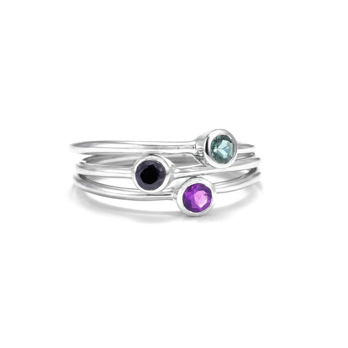 Pistil Bouquet Trio of Rings - Silver/Amethyst/Black