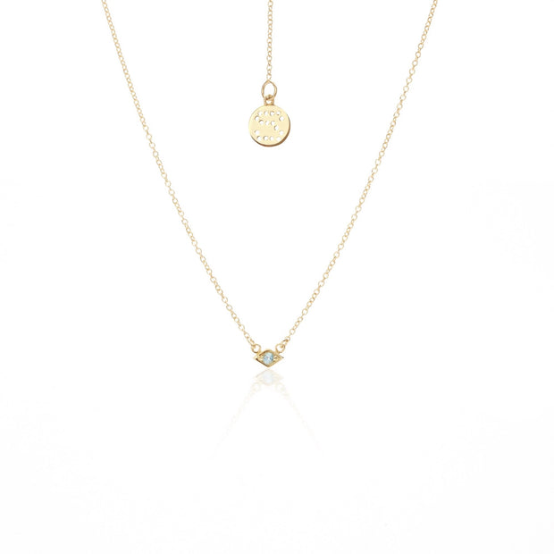 Keepsake Necklace - Blue Topaz/Gold