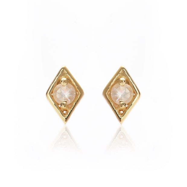 Keepsake Stud - Rose Quartz/Gold | Shop Silk and Steel Jewellery at IKON