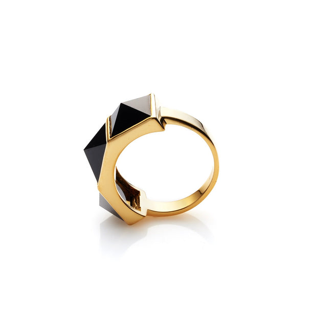 Rock Glam Ring - Black/Gold