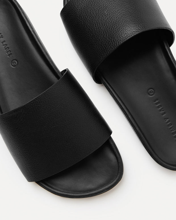 Single Strap Slide - Black Leather