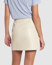 Sophia Faux Leather Skirt - Cream