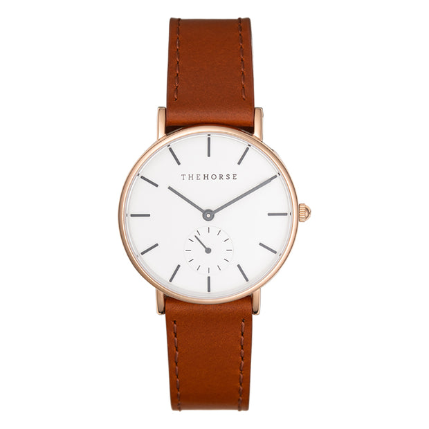 The Classic Watch - Rose Gold/White/Walnut