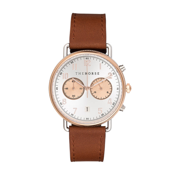 The MIni Chronograph Watch - Rose Gold/Silver/Tan