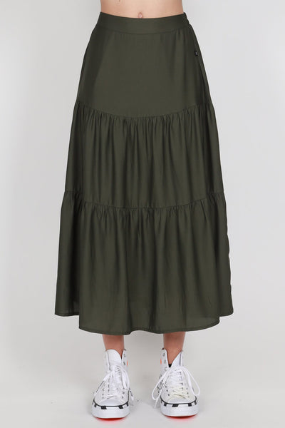 Tier Skirt - Olive | Shop online at IKON, Arrowtown NZ