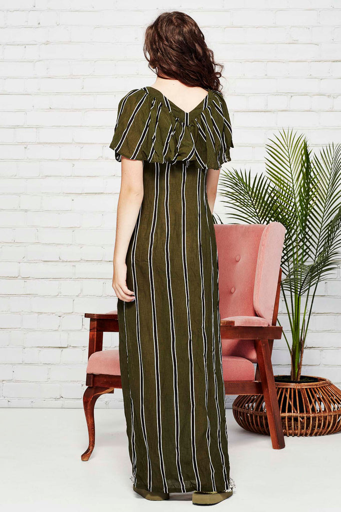 Coop Over My Shoulder Dress - Khaki Stripe