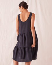 Womens Tiered Linen Dress - True Navy