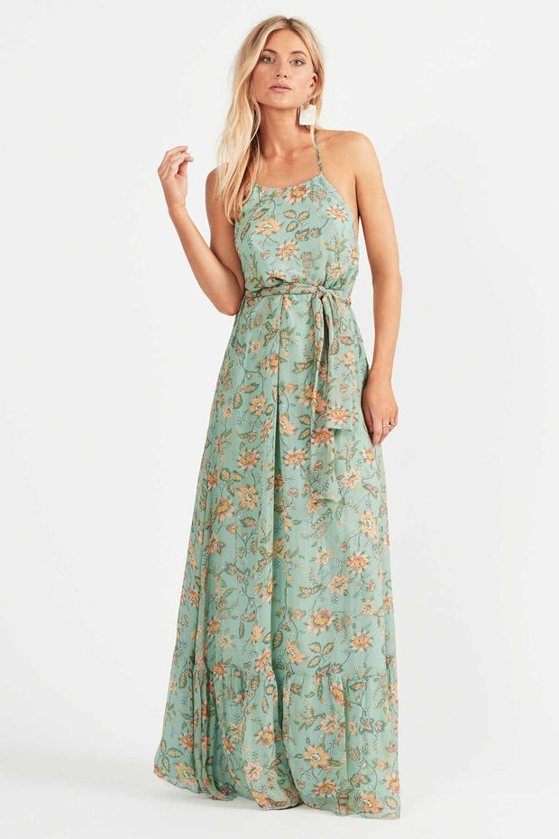 Tigerlily Persi Silk Maxi Dress Jade