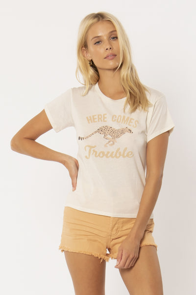 Trouble Knit Tee - Vintage White | Amuse Society at IKON NZ